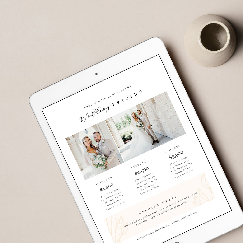 Minimalist - Wedding Photography Price Guide - Salsal Design