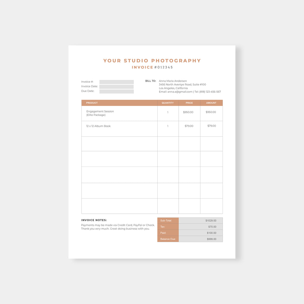 Modern - Photography Invoice - Salsal Design
