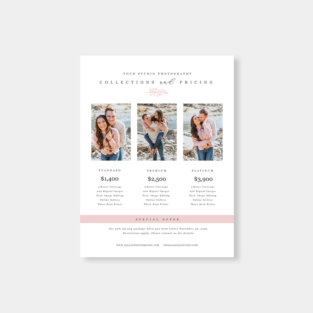 Pink Element - Photography Price Guide Template-Template-Salsal Design