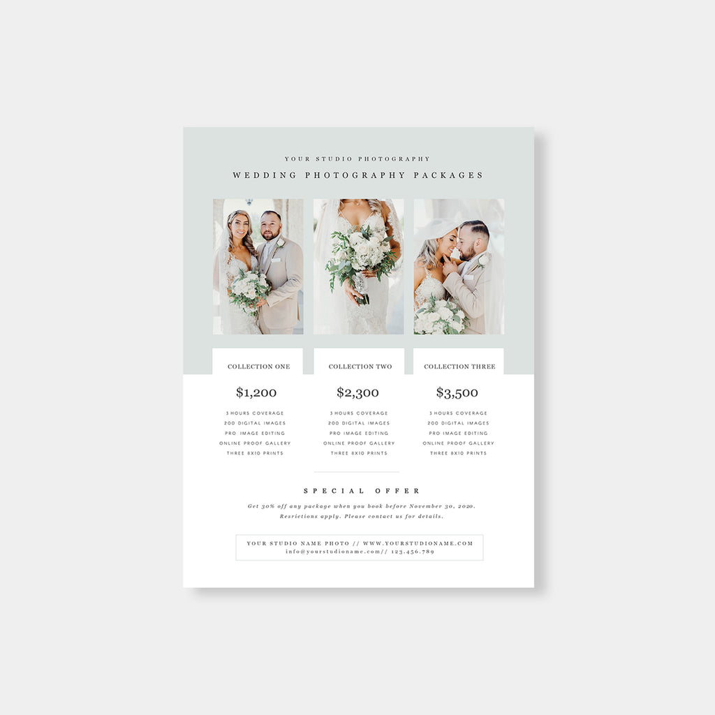 Light Green - Wedding Photography Price Guide - Salsal Design