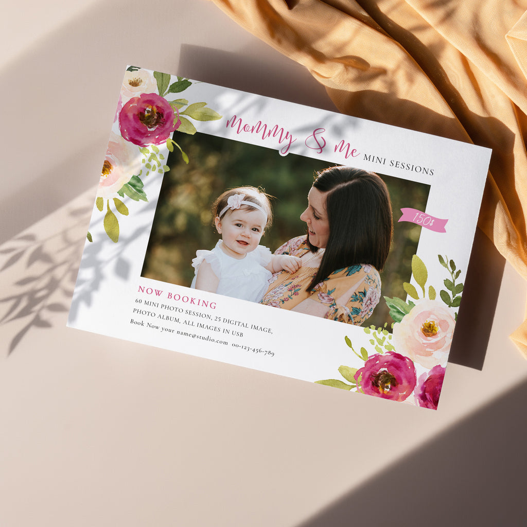 Floral - Mommy & Me Mini Session Template - Salsal Design
