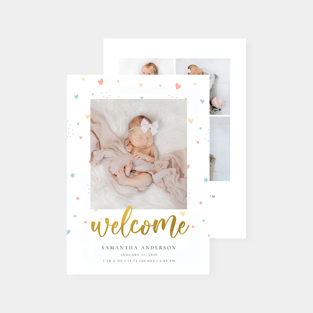 Welcome - Birth Announcement Template - Salsal Design
