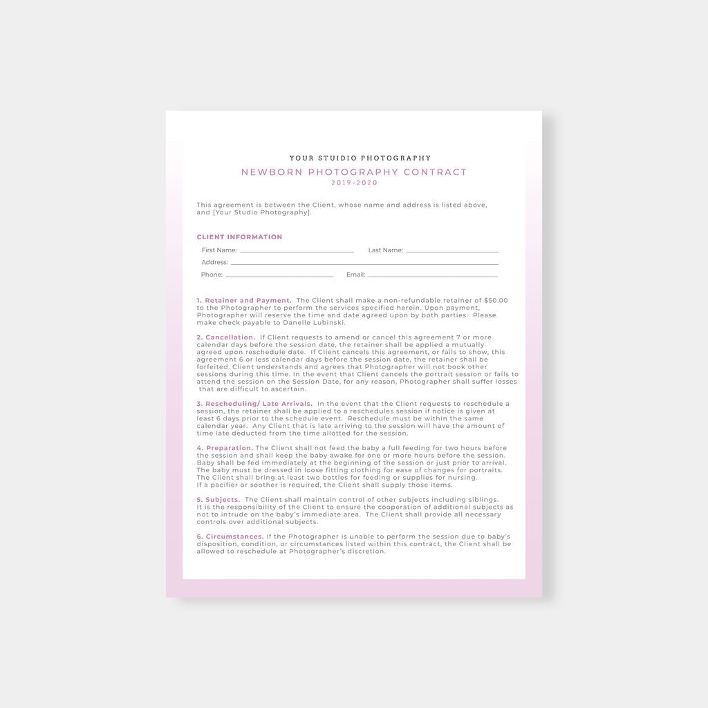 Pink - Newborn Photography Contract - Salsal Design