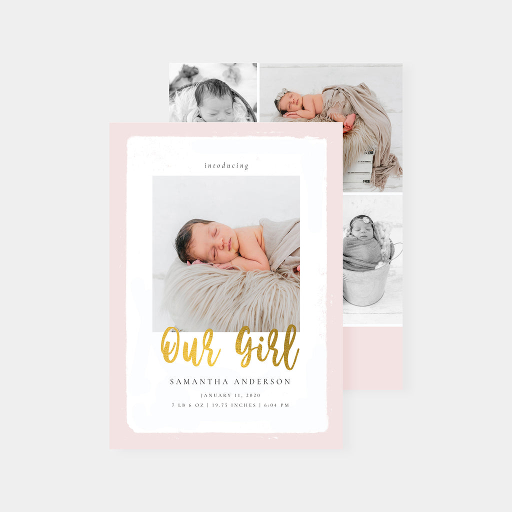 Our Girl - Birth Announcement Template - Salsal Design