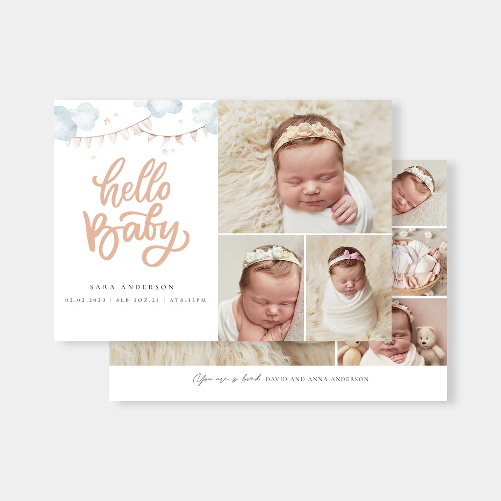 Simple Emphasis - Birth Announcement Template-Template-Salsal Design