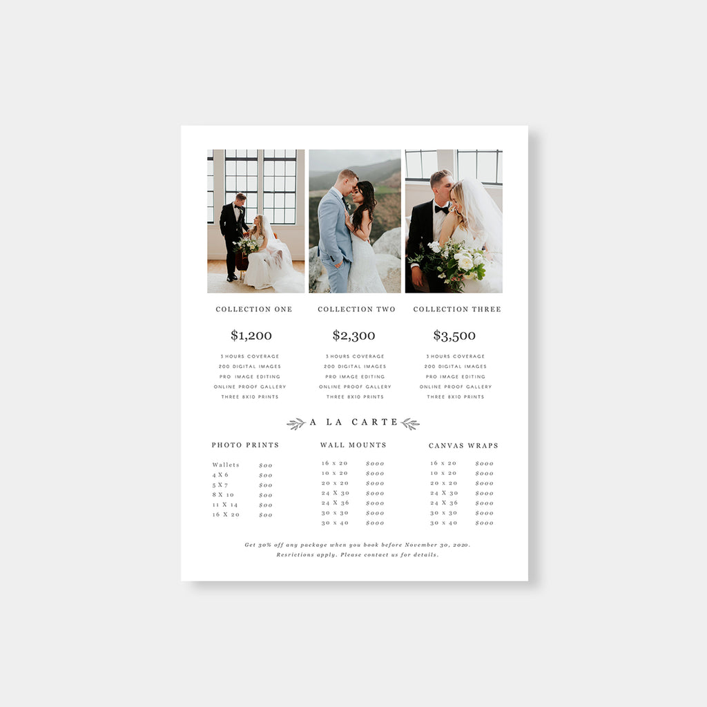 Minimal Element - Wedding Photography Price Guide - Salsal Design