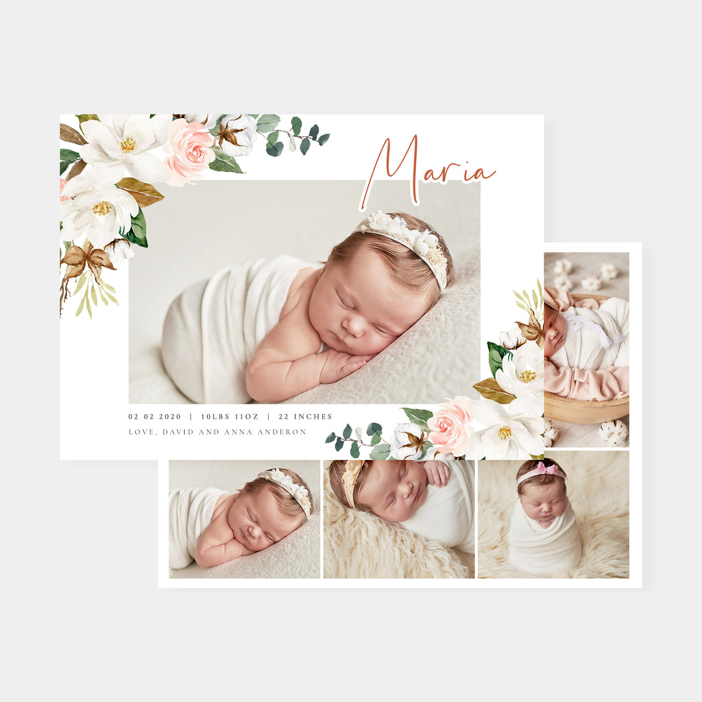 Blossom - Birth Announcement Template-Template-Salsal Design