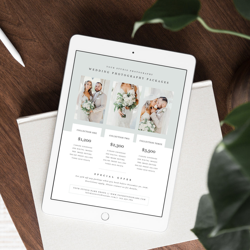 Light Green - Wedding Photography Price Guide Template - Salsal Design