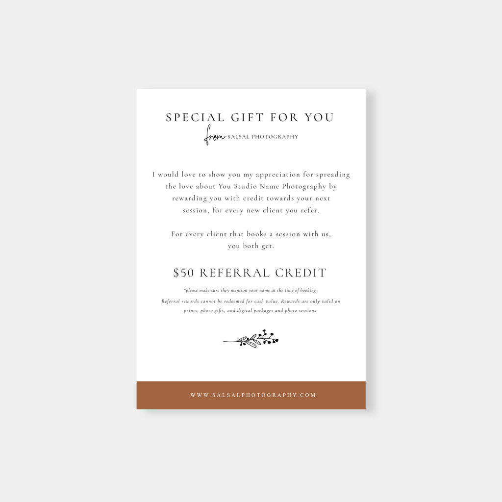 Brown - Photography Referral Card - Salsal Design