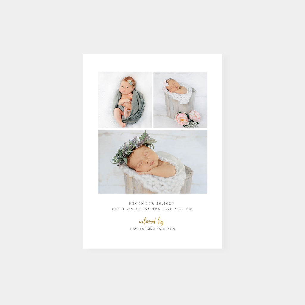 Welcome Maria - Birth Announcement Template - Salsal Design
