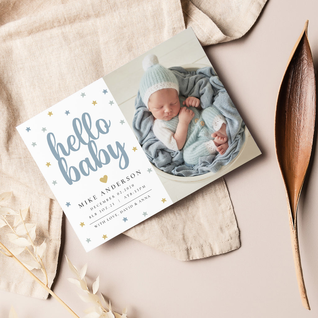 Sweet Blue - Birth Announcement Template-Template-Salsal Design