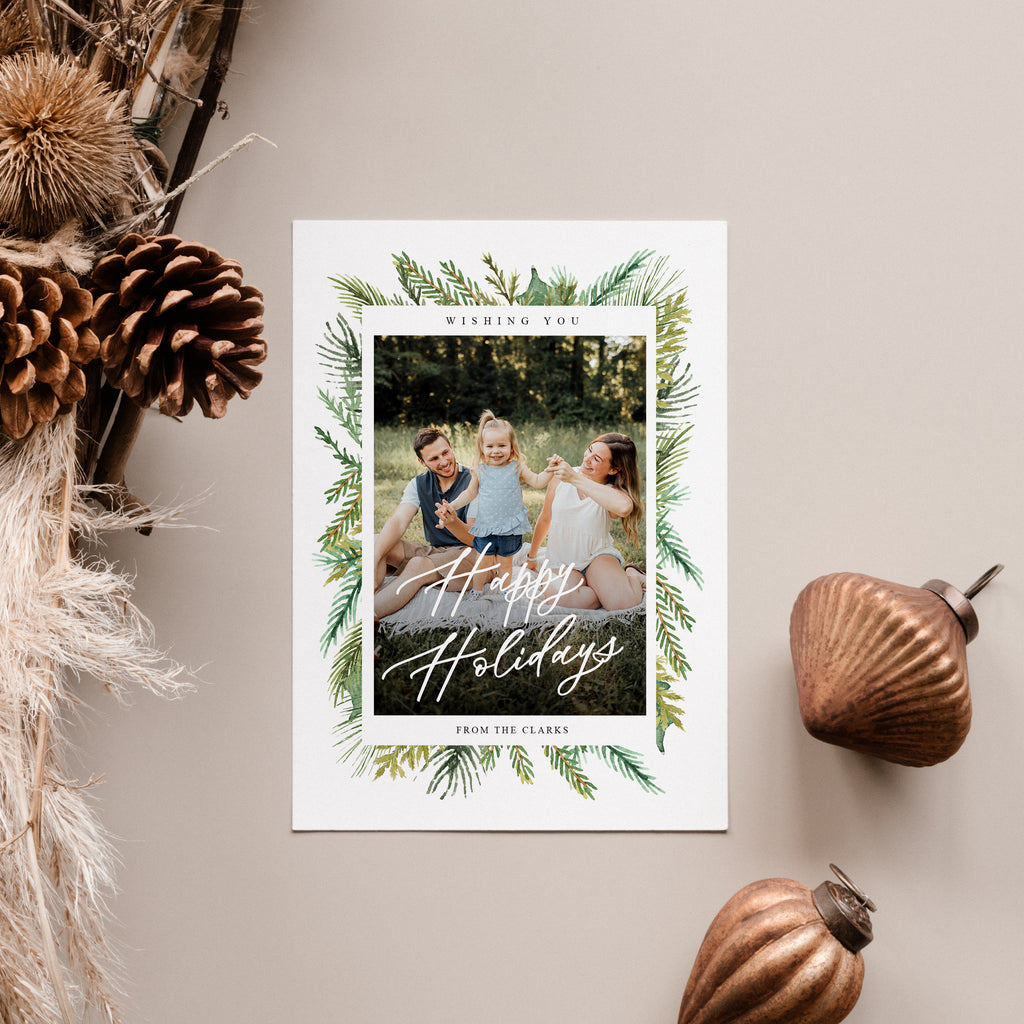Pine leaves - Holiday Card-Template-Salsal Design
