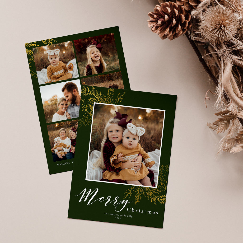 Gold Leaves - Christmas Card-Template-Salsal Design