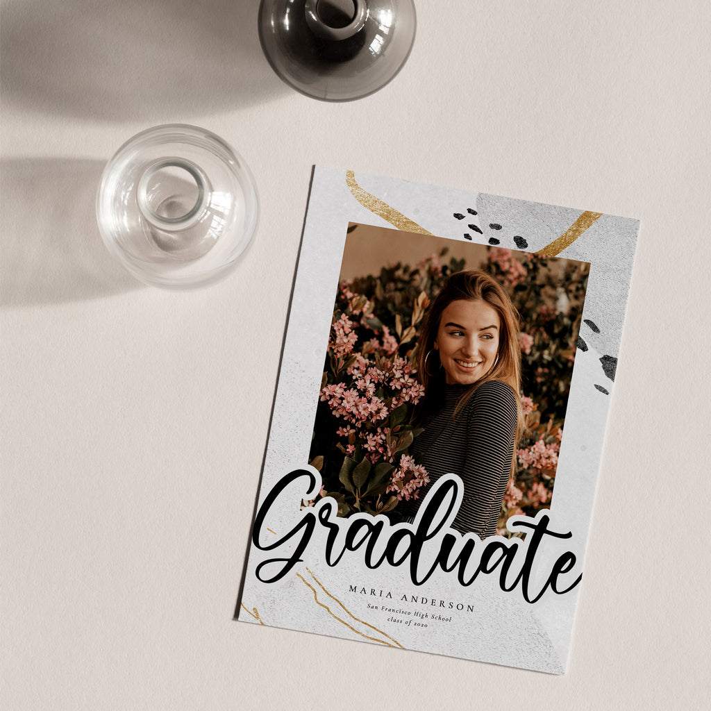 Gold Marble - Graduation Announcement Template - Salsal Design