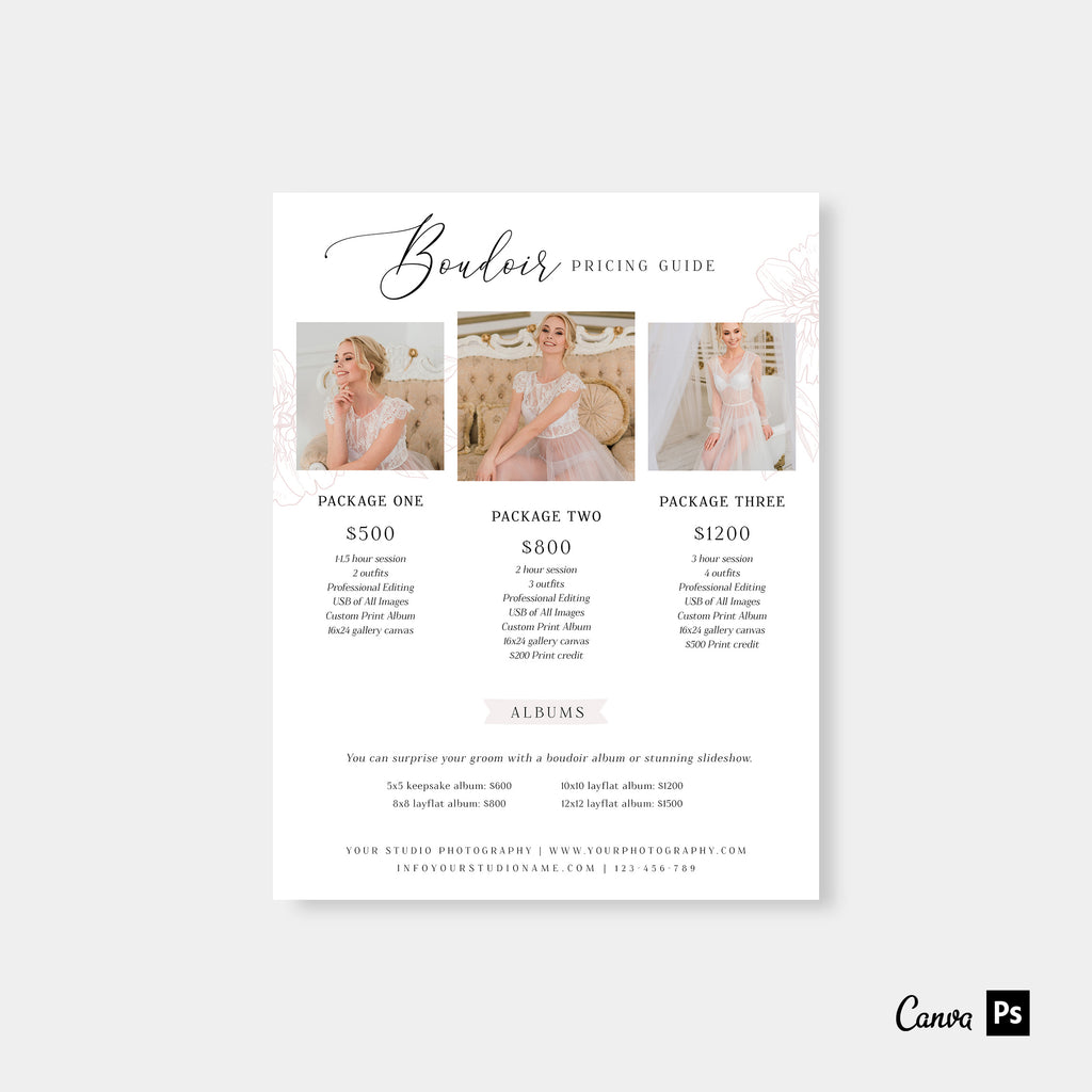 Elegant Boudoir - Wedding Photography Price Guide Template-Template-Salsal Design