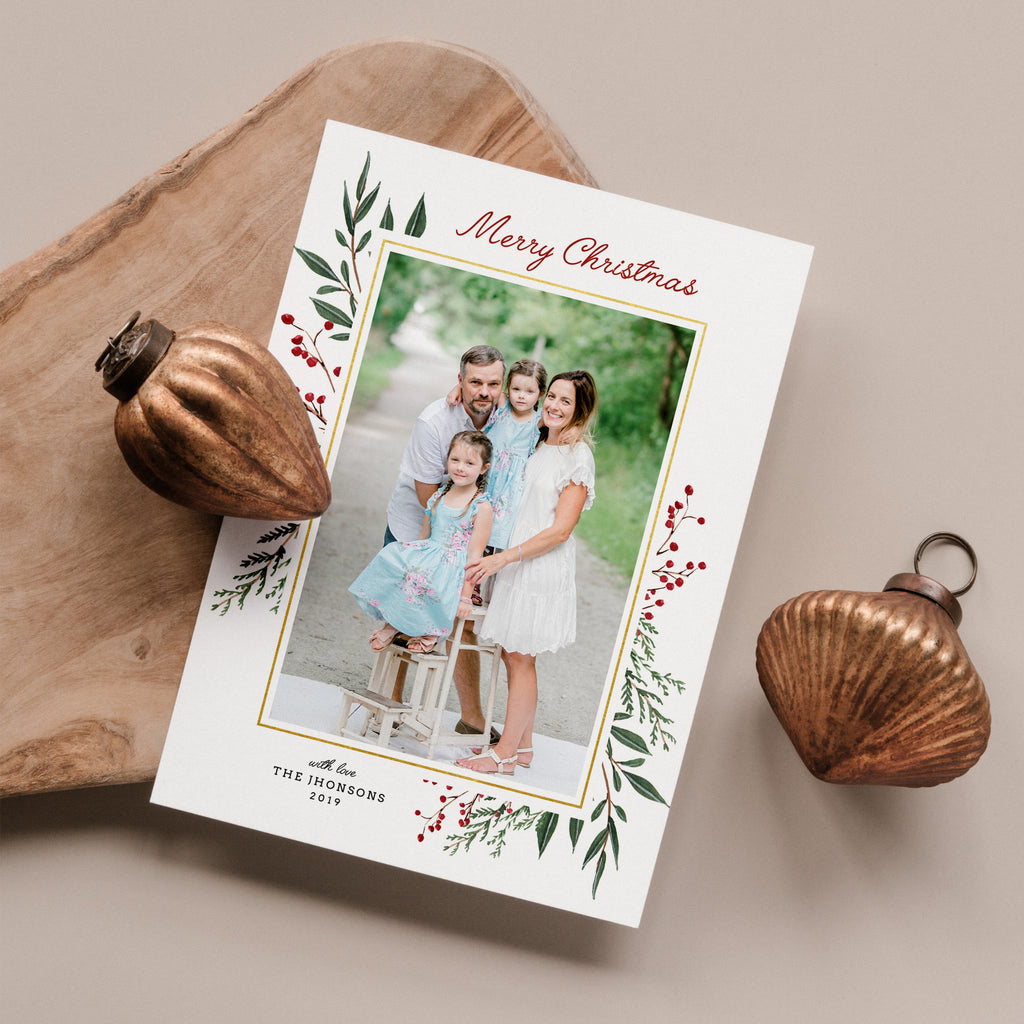 Berry Leaves | Vertical - Christmas Card - Salsal Design
