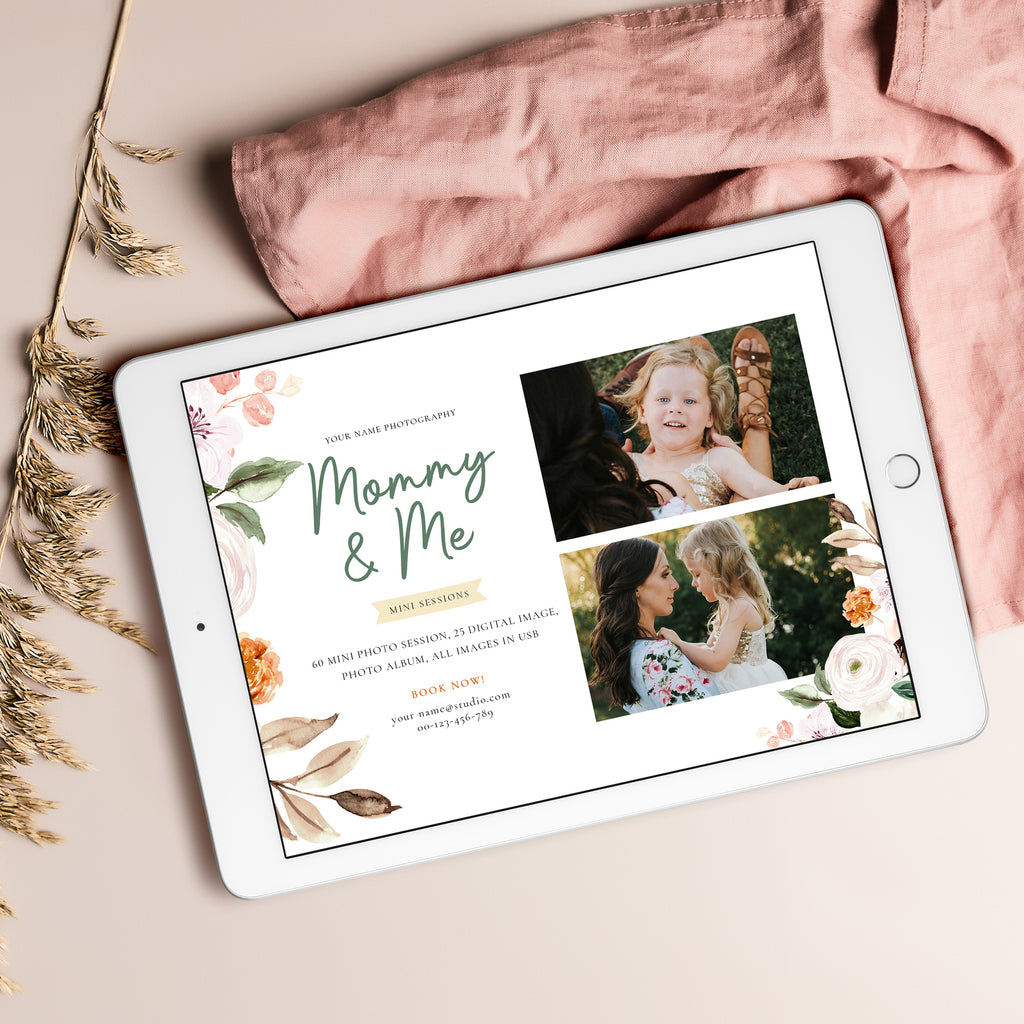 Floral Watercolor - Mommy & Me Mini Session Template - Salsal Design