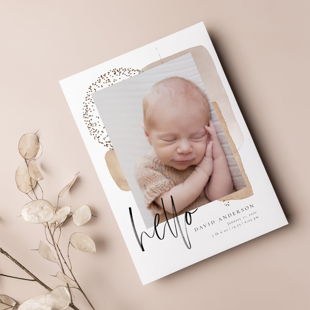 Hello David - Birth Announcement Template - Salsal Design
