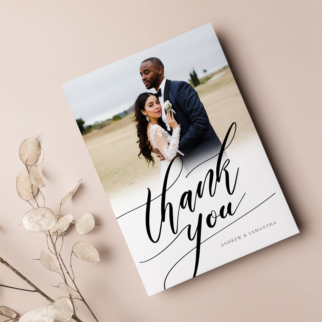 Black & White  - Wedding Thank You Card - Salsal Design
