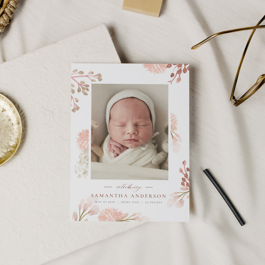 Little Blossom - Birth Announcement Template-Template-Salsal Design