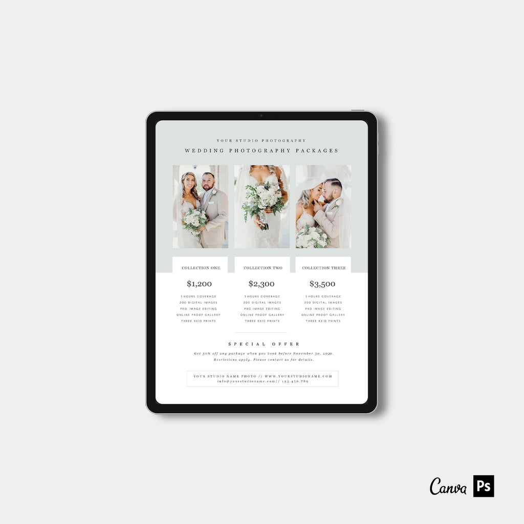Light Green - Wedding Photography Price Guide Template-Template-Salsal Design
