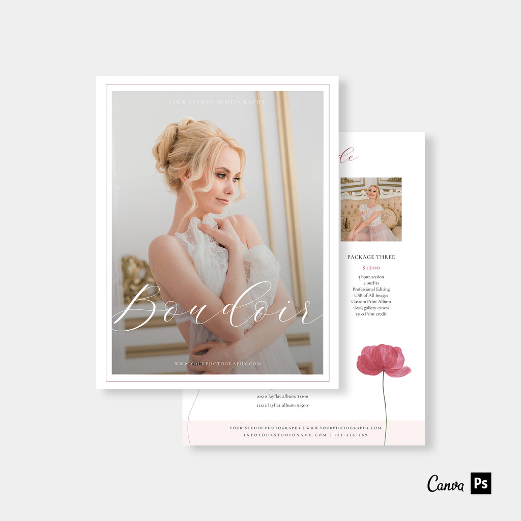 Watercolor Rose - Wedding Photography Price Guide Template-Template-Salsal Design