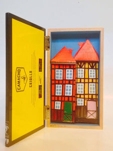 "Wooden ""CAMACHO"" cigar shadow box, with 3D Painting of Nyhavn - Copenhagen."