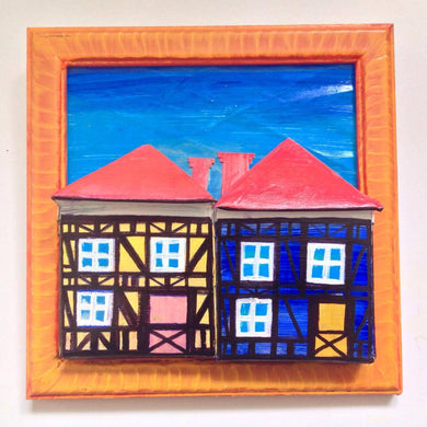 Yellow & Blue Tudor Houses in Sunflower Frame with Foot