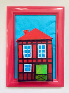 Red Nyhavn House in Red Frame with Foot