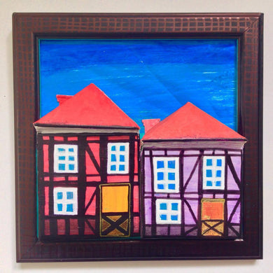 Red & Pink Tudor Houses of Copenhagen in Black Frame with Foot