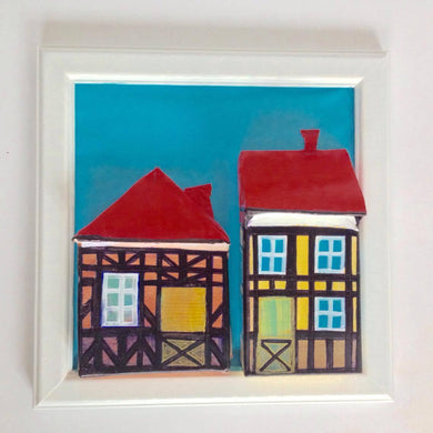 Pink & Yellow Tudor Houses in White Frame with Foot