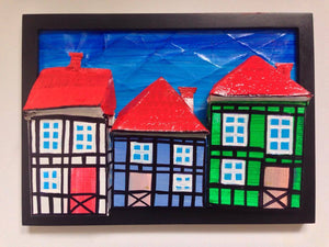 3 Tudor Style Houses of Copenhagen in Black Frame with Foot