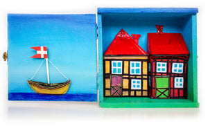 "Wooden ""TRINIDAD"" cigar shadow box, with 3D Painting of Nyhavn - Copenhagen."