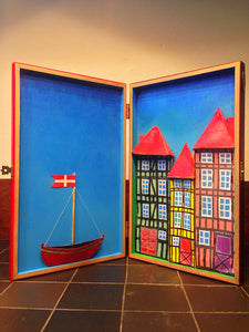 "Wooden ""BESPOKE"" cigar shadow box, with 3D Painting of Nyhavn - Copenhagen."