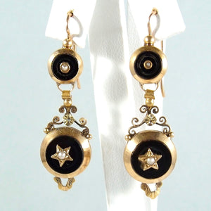 Dangling earrings Napoléon III stamped 18K French gold Onyx and demi pearl