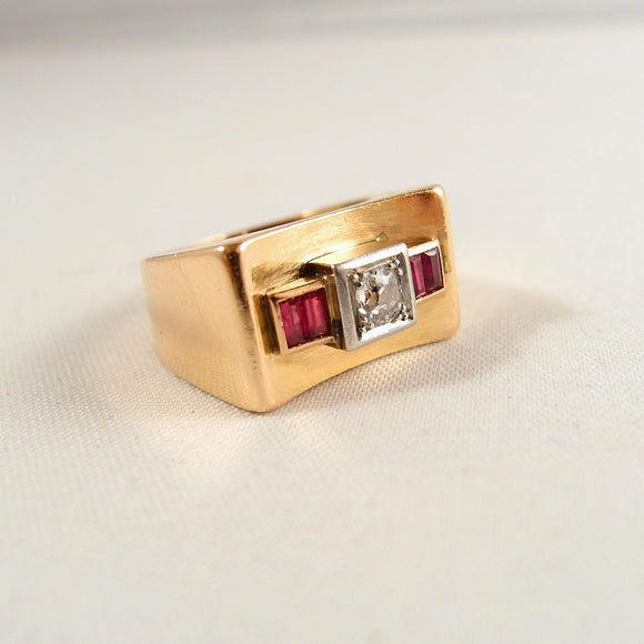 Solid 18K gold and platinum Deco