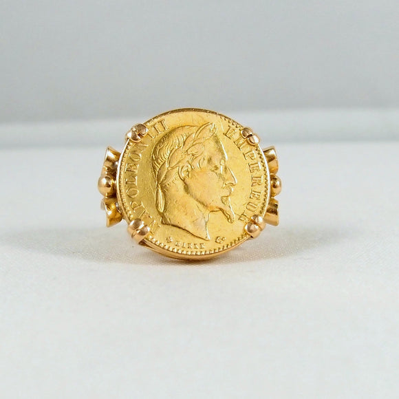 750 Solid Gold Napoléon III ring 750 plus 900 carat French coin Signed and dated