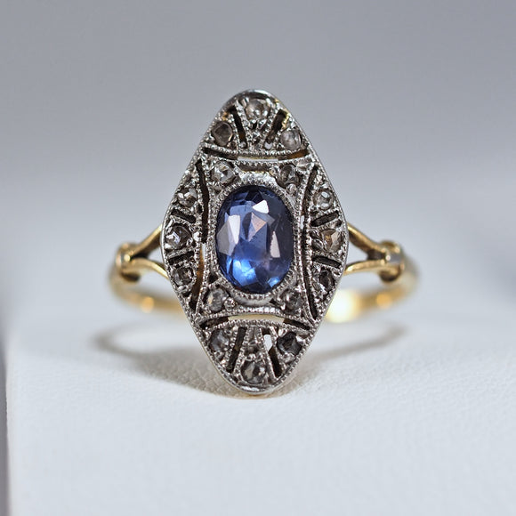 Rare Genuine Art Nouveau ring 18K solid gold and platinum Natural faceted sapphire and earth mined diamonds Hallmarked