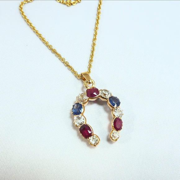 18K solid gold horseshoe pendant Old European cut diamond Natural rubies and shapphires 750 gold cable chain