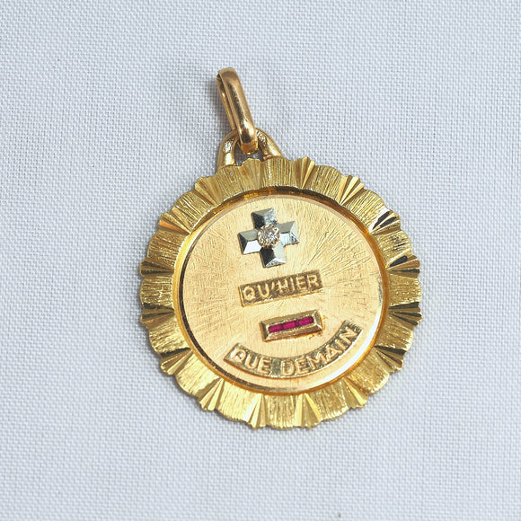 18K solid gold medal Love token Signed poetic rendering in stamped fine gold