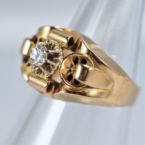 Stunning Retro ring Stamped 18K solid gold Old European cut diamond Cathedral set Fine gold jewelry