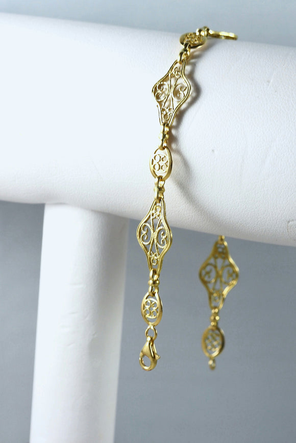 18K solid gold Art Nouveau style bracelet Filigree links Stamped fine gold French jewelry