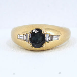 18K solid gold FRED of Paris designer ring with sapphire solitaire and diamonds Hallmarks