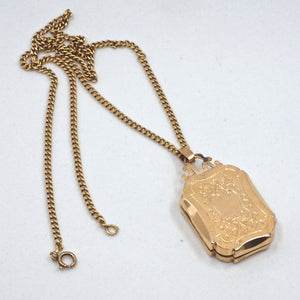 Heavy 18K solid gold Napoléon III glass divider photo locket Stamped Victorian era gold jewelry