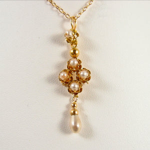 Art Nouveau French necklace Stamped 18K solid gold with a pearl pendant Cable chain with security chain