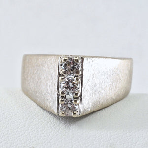 Modernist 14K solid white gold ring with 0.48cttw quality natural diamonds Stamped A shaped trilogy ring