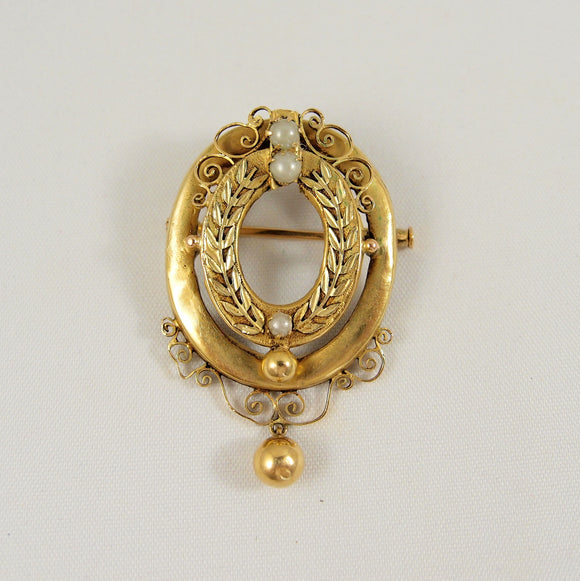Antique and rare 18K solid gold brooch Circa 1890s gold medallion pin Hallmarked