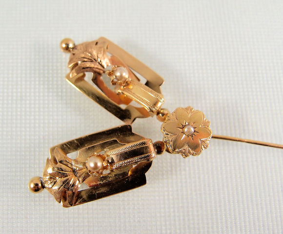 1840s French romantic stick pin 18K solid gold and pearl jabot tie pin Early Victorian tie tack Stamped