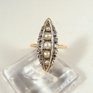 Rare Georgian epoch marquise ring in 18K solid gold and silver with pearls and rose cut diamonds