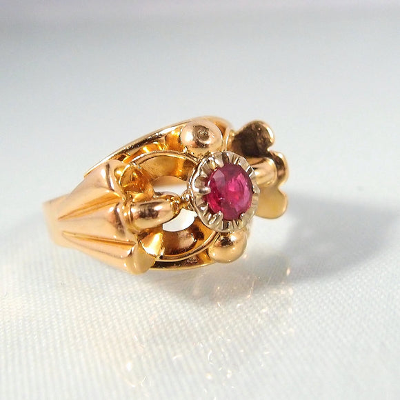 Art Deco 18K solid gold and natural ruby ring Stamped French jewelry Unique craftsmanship